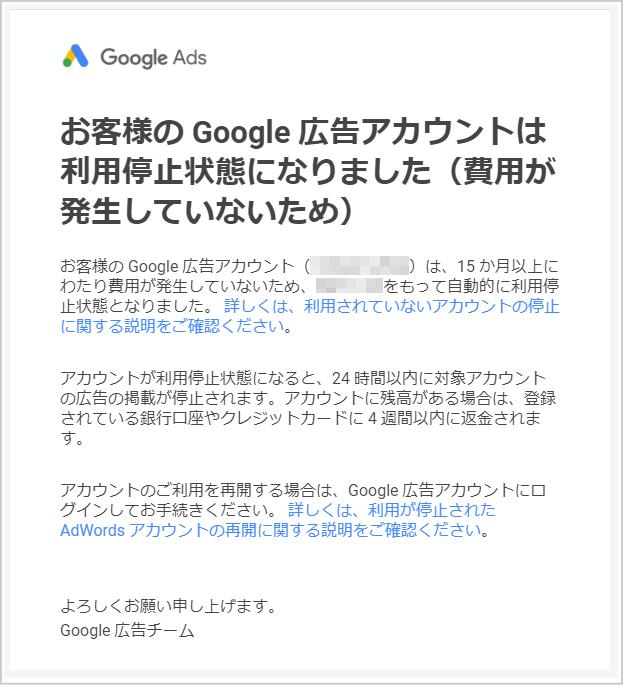 Google広告アカウント利用停止状態メール