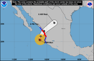 ハリケーンウィラ進路予想1023