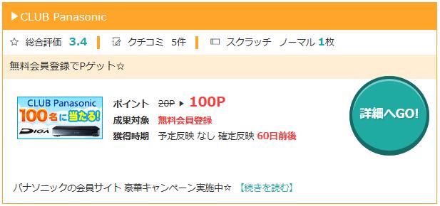モッピーで100ポイント獲得 CLUB Panasonic