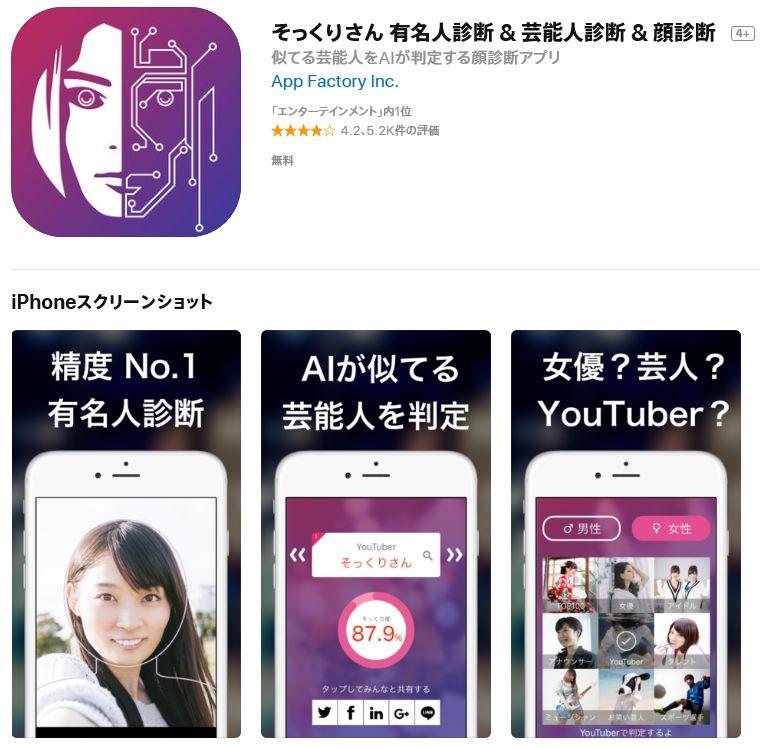 顔診断アプリそっくりさん芸能人