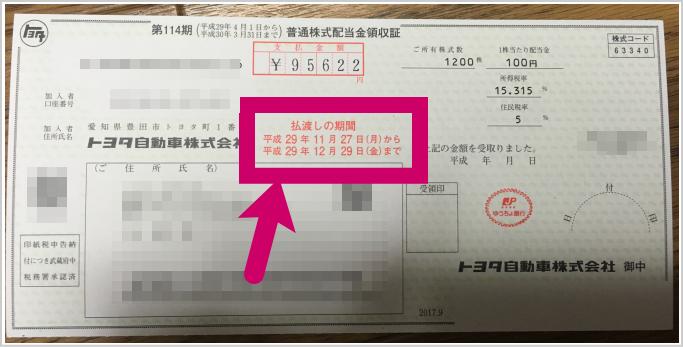 トヨタ自動車配当金2017-2