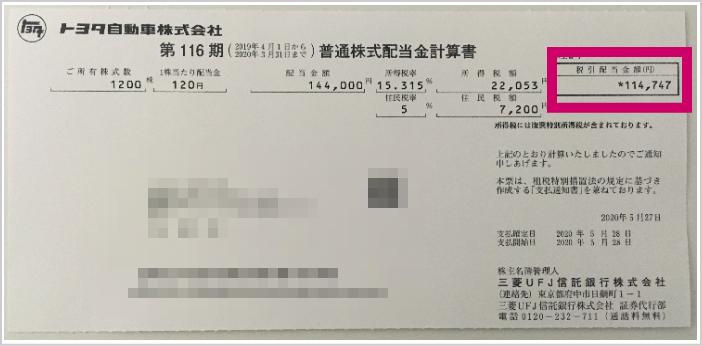 トヨタ自動車株配当2019年期末